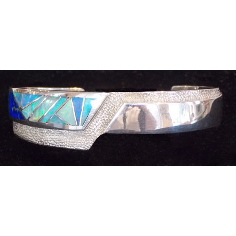 Sterling Cuff with Natural Opal and Lapis Inlay