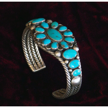 Exquisite Sterling Cuff Set with 17 Natural Turquoise Stones