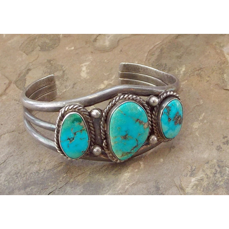 Split-shank Cuff with Three Turquoise Stones