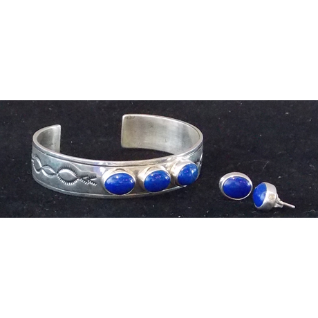 Beautiful Lapis Set in Sterling Silver. With Post Earrings
