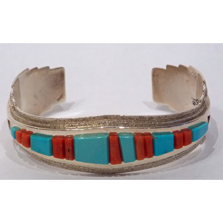 Tufa Cast Cuff with Turquoise and Coral Inlay