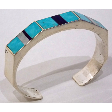 Turquoise, Lapis and Mother of Pearl Inlay Cuff