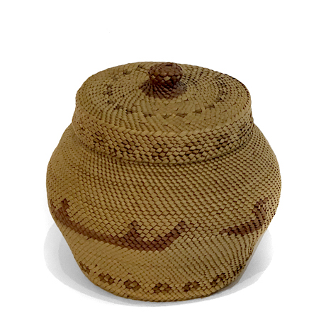 Early 20th Century Makah Basket with Whaling Scene