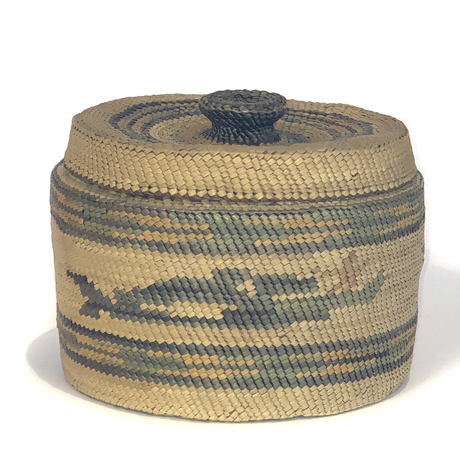 Large Lidded Basket with Whaling Design