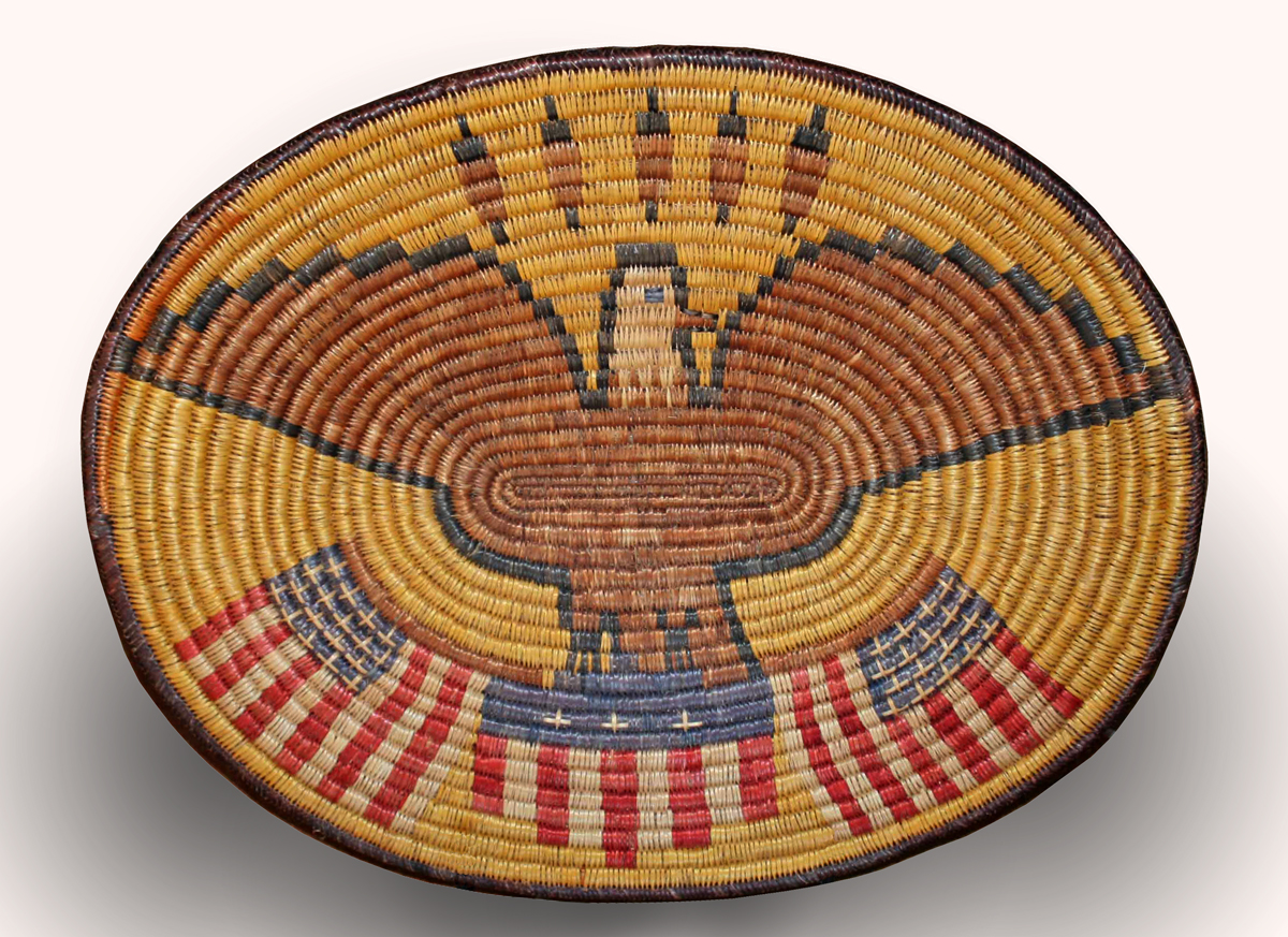 Large Oval Plaque Depicting an Eagle and Flag