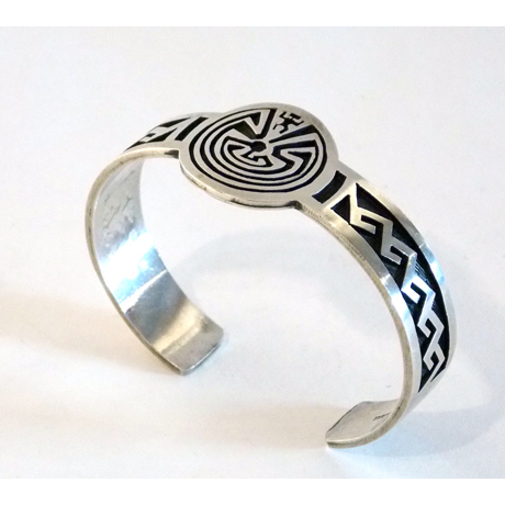 Hopi Overlay Cuff with Man-in-the-Maze Motif