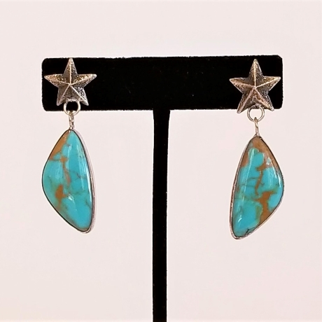 Silver Star Posts with Turquoise Dangles