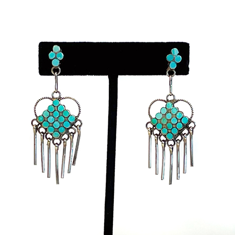 Flat-channel Turquoise and Silver Diamond shaped Dangles