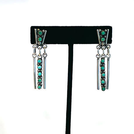 Zuni Earrings with Snake Eye Turquoise and Silver Dangles