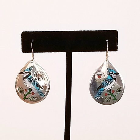 Intricate Bluejay Multi-stone Inlaid Drop Earrings