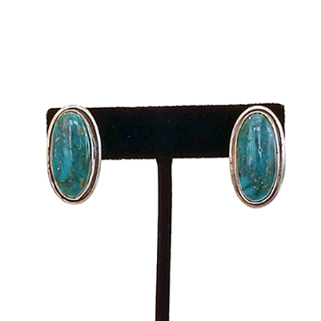 Navajo Silver and Oval Royston Turquoise Earrings