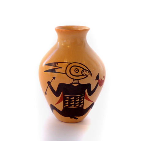 Classic Mimbres Male on Beautiful Yellow-ware Vase