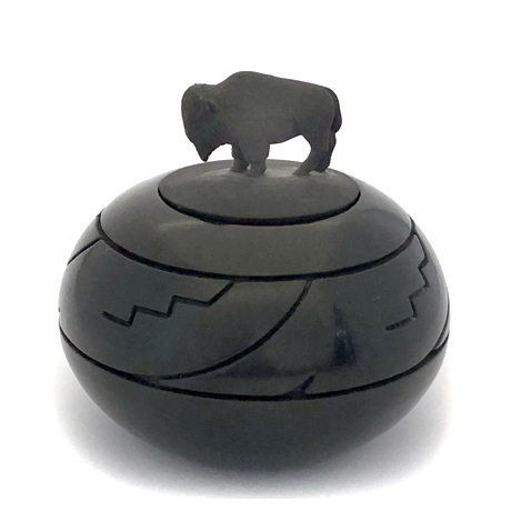 Deeply Carved Seedjar with Bison Lid