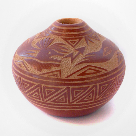 Miniature Redware Seedpot Sgrifitto with Avanyu