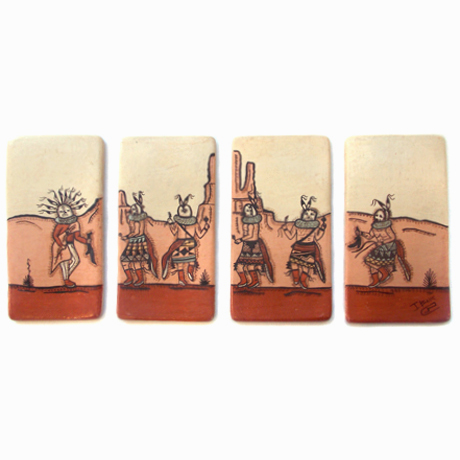 Navajo Scene on Four Ceramic Tiles