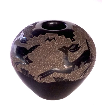 Miniature Blackware Jar with an Incised Leaping Deer