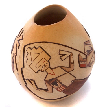 Carved Vase with Dancing Kachinas