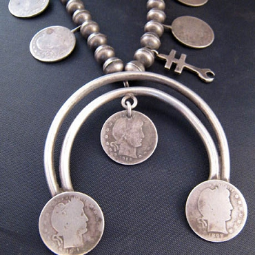 Well Worn 1940s Necklace with Coins Dating from 1898 to 1916