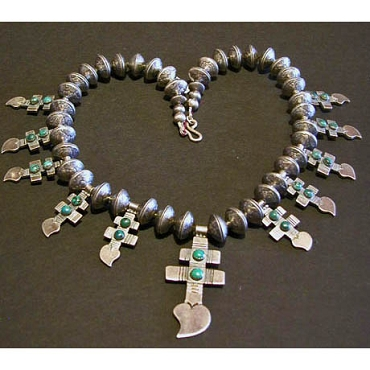 Broken Heart Cross Necklace Made from Dimes, Coin Silver