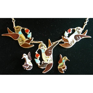 Vintage Hummingbird Inlay Necklace with Matching Clip Earrings