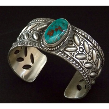 Hand Stamped and Repose' Cuff with Blue Gem Turquoise
