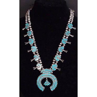 1950s Squash Blossom Necklace with High Quality Flat-channel Inlay Turquoise