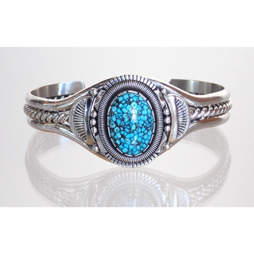 Spiderweb Kingman Turquoise Set in an Intricately Fabricated Cuff