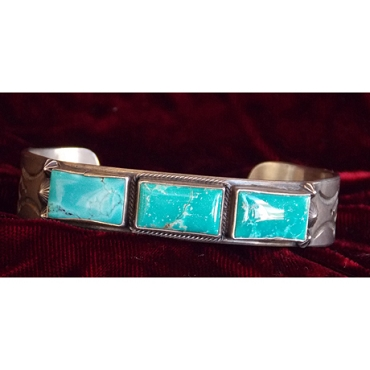 Sterling Cuff with Three Large Turquoise Stones
