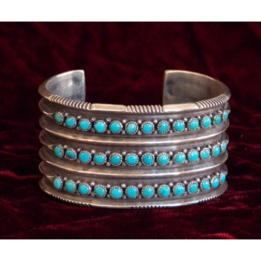 Wide Triple-row Cuff of Beautifully Worked Sterling and Turquoise Drops