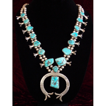 Late 1930s - Early 1940s Squash Blossom Necklace with Freeform Turquoise
