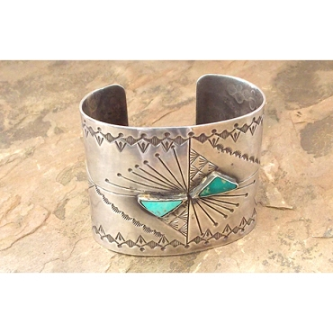 Wide Sterling and Turquoise Cuff