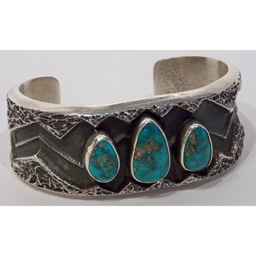 Tufa Cast Cuff with Morenci Turquoise