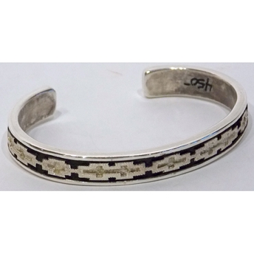 Sterling Cuff with Rug Design