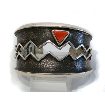 Open Water Design with Coral on a Tufa Cast Cuff