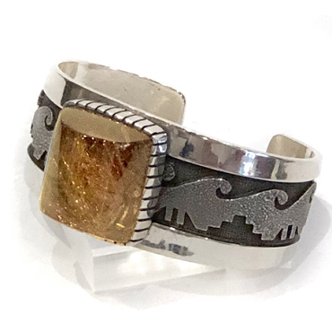 Cuff with High-domed Rutilated Quartz