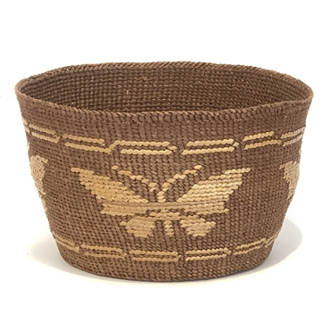 Tightly Woven Basket with Butterflies