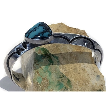 Heavy Sterling Cuff with Turquoise Mounted on the Side