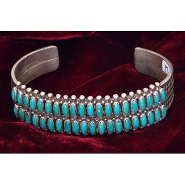 Two-row cuff with Rice-cut Turquoise
