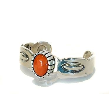 Beautiful Coral in an Elevated Bezel on a Repose' Cuff