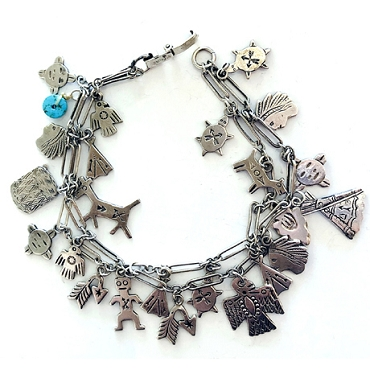 Two Strand Charm Bracelet with Fred Harvey Era Charms
