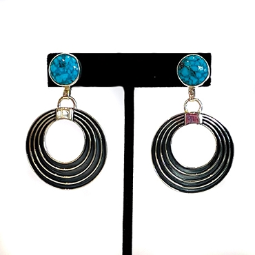 Sterling and Turquoise Earrings with Concentric Circle Dangles
