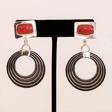 Sterling and Coral Earrings with Concentric Circle Dangles