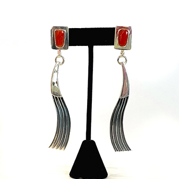 Silver and Coral Long Dangle Earrings