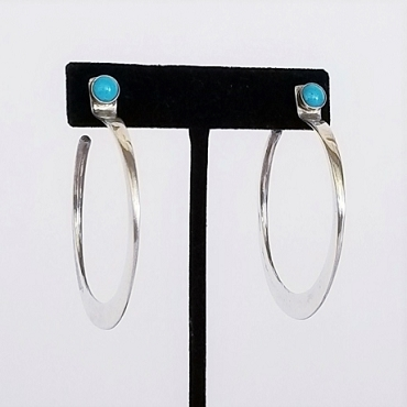 Large Silver Hoops with Turquoise