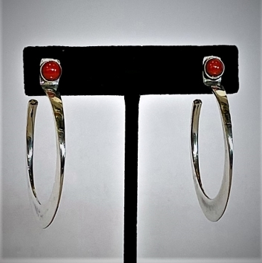 Large Silver Hoops with Coral