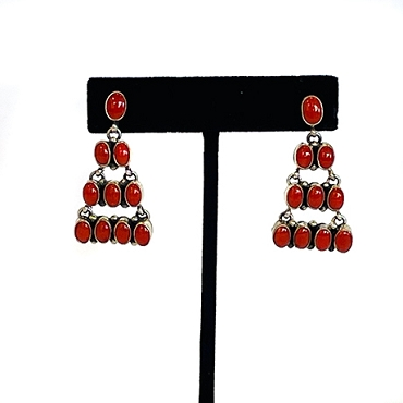 Silver and Coral 4 row Chandelier Earrings