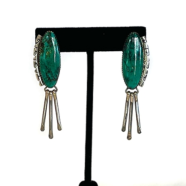 Large Oval Turquoise with Silver Bezel and Dangles