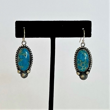Oval Turquoise Dangle with Silver Bezel and Stampwork