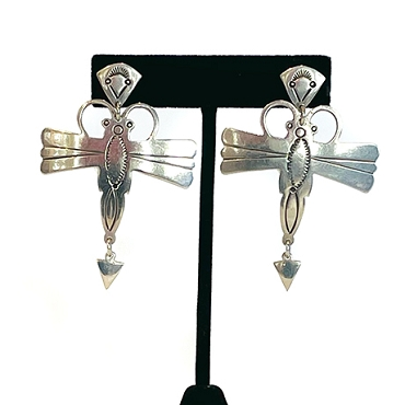 Silver Dragonfly Earrings with Stampwork and Dangle Tails