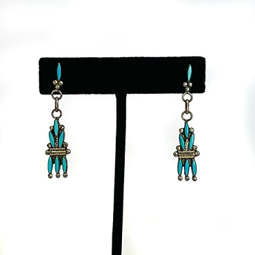 Zuni Needlepoint and Silver Dangle Earrings